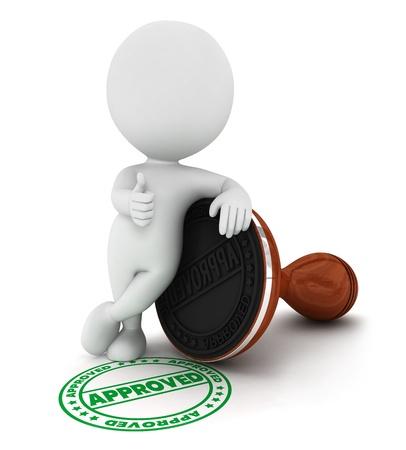 petit bonhomme: 3d personnes de race blanche a approuv� timbre en caoutchouc bois dans un esprit positif pose, isol� sur fond blanc, image 3d Banque d'images