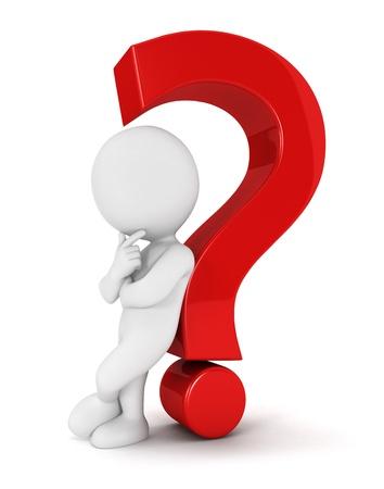 punto di domanda: 3d bianchi appoggiati schiena contro un punto interrogativo rosso, isolato sfondo bianco, immagini 3d