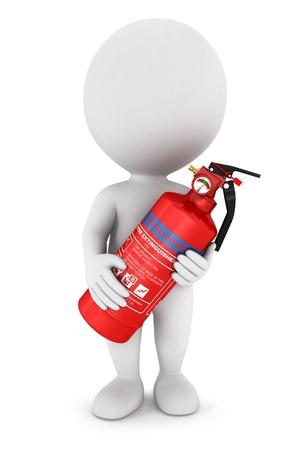 bombero de rojo: 3d personas de raza blanca con un extintor de color rojo, fondo blanco, imagen 3d Foto de archivo