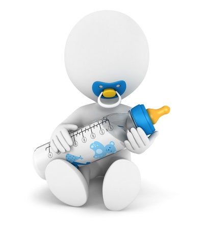 3d white people baby with a feeding bottle and a pacifier, isolated white background, 3d image