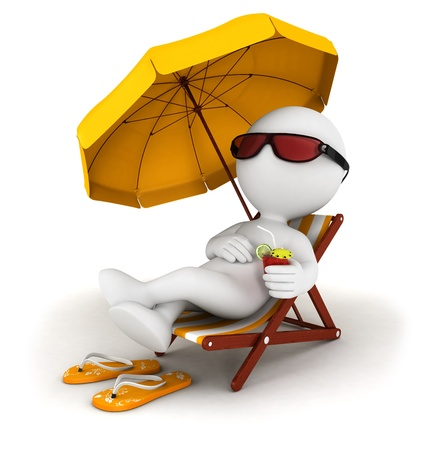 vacancies: 3d white people in vacation lying on a beach chair with cocktail and umbrella, isolated white background, 3d image