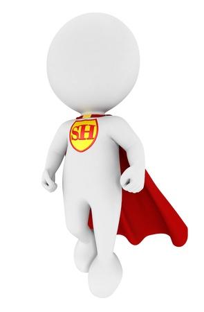 bonhomme blanc: 3d super-héros blanc les gens avec une cape rouge, isolé sur fond blanc, image 3d