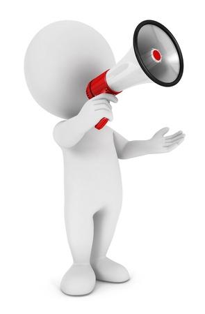 bonhomme blanc: 3d personnes de race blanche avec un mégaphone, sur fond blanc isolé, image 3d Banque d'images