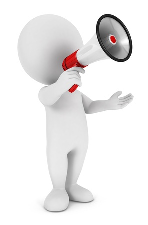 expostulate: 3d white people with a megaphone, isolated white background, 3d image