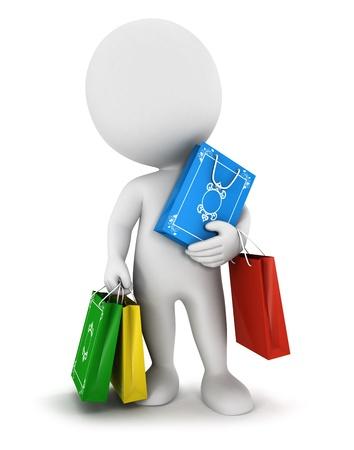 3 d の白人の人々 は買い物袋、分離白背景、3 d イメージを運ぶ