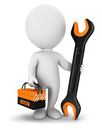 repairmen: 3d white people repairer with a wrench and a toolbox, isolated white background, 3d image Stock Photo