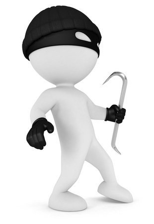 robbery: 3d white people masked thief with a crowbar and black gloves, isolated white background, 3d image
