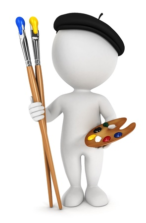 paint palette: 3d white people painter with paint brushes and palette, isolated white background, 3d image