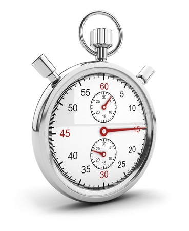 timescale: 3d chrome stopwatch icon, isolated white background, 3d image Stock Photo
