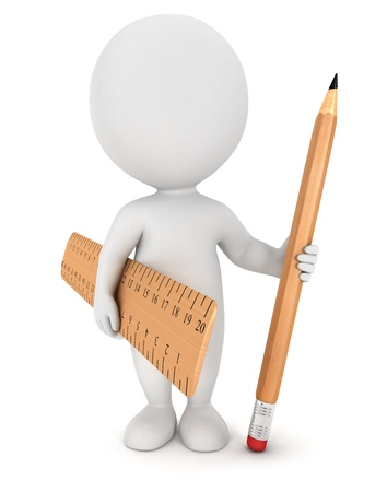 3d white people with wooden pencil and ruler, isolated white background, 3d image