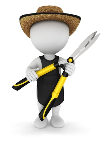 shears: 3d white people gardener with garden shears, isolated white background, 3d image Stock Photo