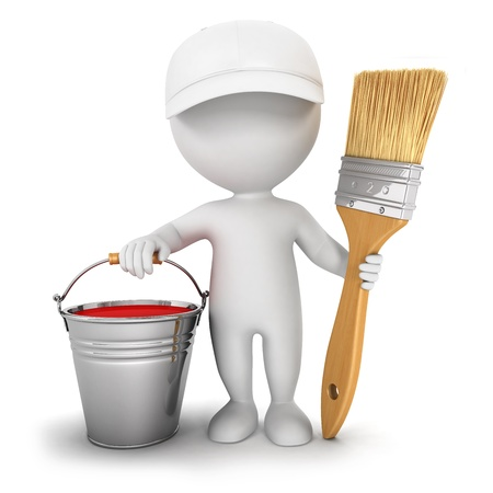 craftsmen: 3d white people with brush , paint bucket and cap, isolated white background, 3d image
