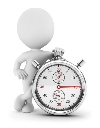 cronometro: 3d personas de raza blanca con un cron�metro, fondo blanco, imagen 3d Foto de archivo