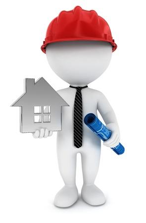 3d белый мастер людей с планом, дома и шлеме, изолированных на белом фоне, 3D изображения