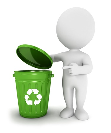 3d white people green recycle trash can, isolated white background, 3d image