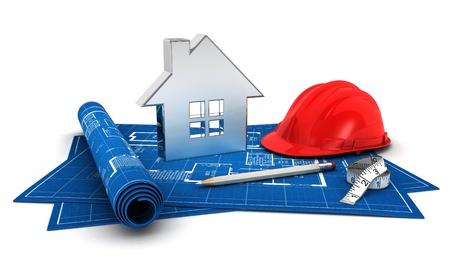 casco rojo: 3d casa proyecto, con hoja de ruta, casco, lápiz, acero icono de la casa y la métrica, fondo blanco aislado, imagen 3d
