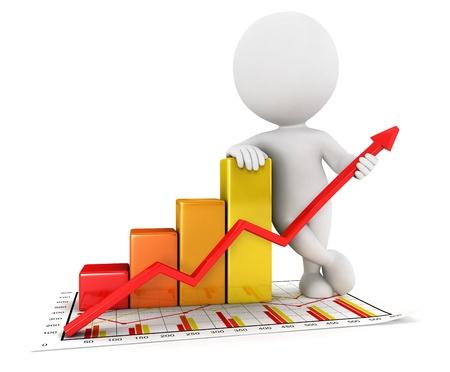 3 d ホワイト人々 ビジネス統計グラフ、孤立した白い背景、3 d 画像