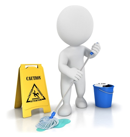 mopping: 3d white people cleaner with a mop, a bucket and warning sign, isolated white background, 3d image