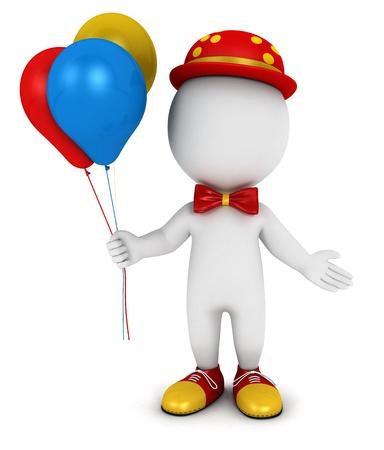 3d белые люди клоун с воздушными шарами, изолированных на белом фоне, 3D изображения