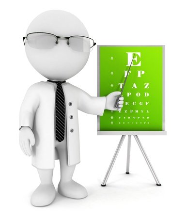 optician: 3d white people optician pointing an eye chart, isolated white background, 3d image