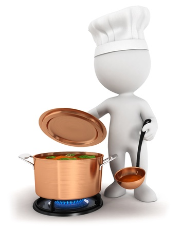 meal preparation: 3d white people cooking soup in a copper pan, isolated white background, 3d image
