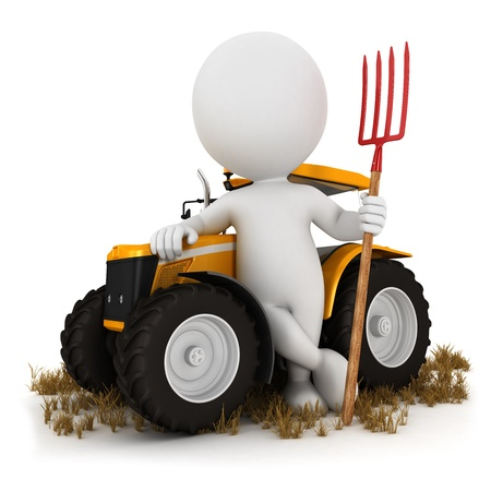 3d white people farmer with a tractor and a pitchfork, isolated white background, 3d image