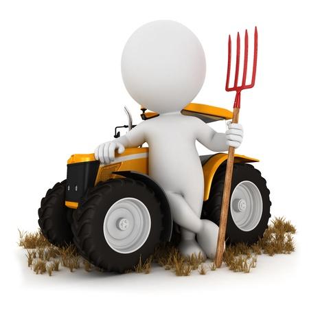 agricultor: Agricultor 3d de los blancos con un tractor y una horquilla, fondo blanco, imagen 3d Foto de archivo