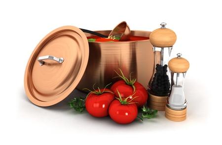 3 d トマト スープの成分、孤立した白い背景、3 d 画像と銅鍋中 写真素材