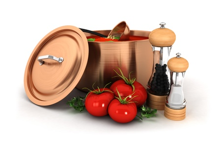 3d tomato soup inside copper pot with ingredient, isolated white background, 3d image