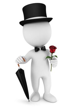 caballeros: Caballero de la gente 3d con un paraguas blanco, pajarita, sombrero y una rosa, fondo blanco, imagen 3d Foto de archivo