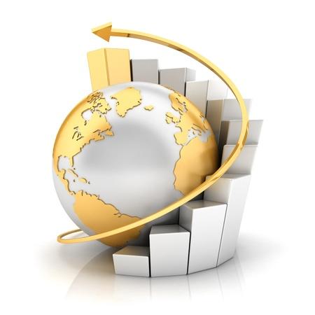 desarrollo econ�mico: Tierra de negocios 3D con gr�fico de barras y la flecha de oro, fondo blanco, imagen 3d Foto de archivo