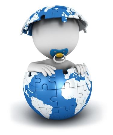 3D белый ребенок людей внутри головоломки земли, изолированных на белом фоне, 3D изображения