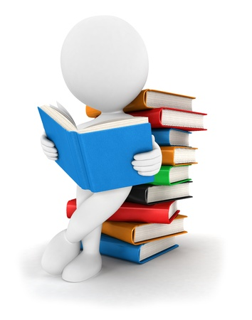 person reading: 3d white people reads a book, leaning back against a pile of books, isolated white background, 3d image Stock Photo