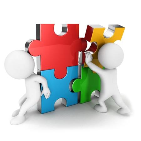 work together: 3d witte mensen samen te werken, assembleren vier kleuren puzzelstuk, geà ¯ soleerde witte achtergrond, 3d beeld