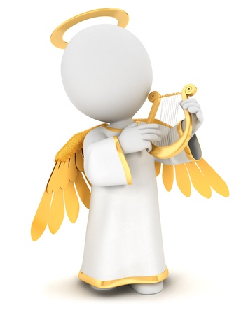 3d white people angel with gold wings and a lyre, isolated white background, 3d image