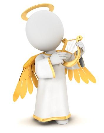3d witte mensen engel met gouden vleugels en een lier, geà ¯ soleerde witte achtergrond, 3d beeld