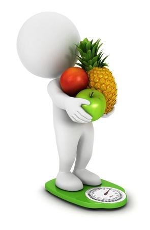 緑の 3 d の白人の人々 フルーツ ダイエット スケール、白い背景、3 d 画像を分離