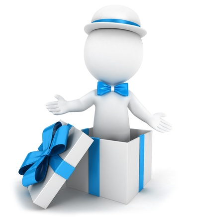 3d white people inside a blue gift, wearing a bow tie and a hat, isolated white background, 3d image