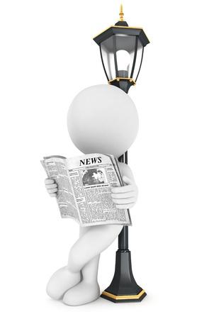 3 d の白人の人々 街灯、バックにもたれて、新聞を読んで分離白背景、3 d 画像