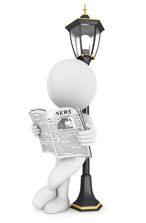 3d white people reading newspaper, leaning back against a street lamp, isolated white background, 3d image