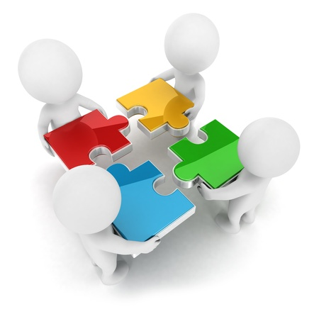 sociedade: 3d branco equipe as pessoas se reúnem de quatro peças cor de um quebra-cabeça, fundo branco isolado, imagem 3d Banco de Imagens