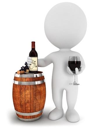 3d bianco persone degustazione di vino rosso, isolato su sfondo bianco, immagine 3d