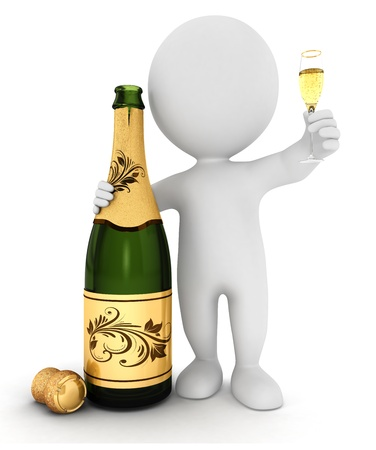 3d white people with champagne and a crystal flute, isolated white background, 3d image photo
