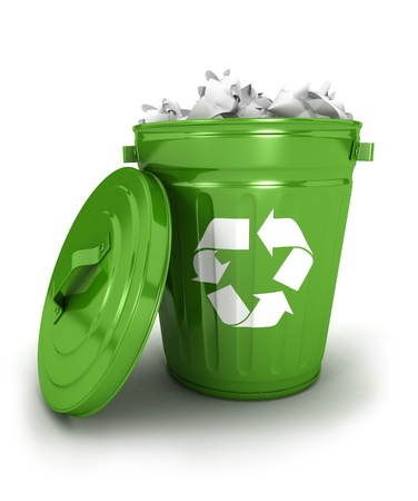 wastepaper basket: 3d recycle trash can icon with papers, isolated white background, 3d image