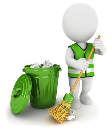cesto basura: 3d blanco gente barrendero y un bote de basura, fondo blanco aislado imagen 3d
