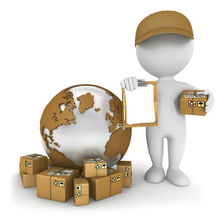 send parcel: 3d white people worldwide delivery, isolated white background, 3d image