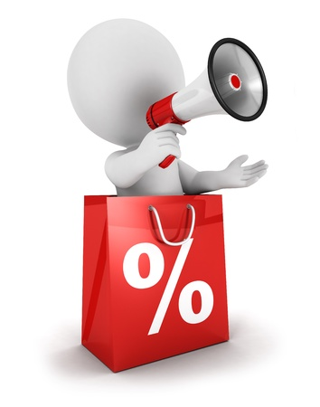 percentages: 3d white people sale announcement with megaphone inside shopping bag, isolated white background, 3d image Stock Photo