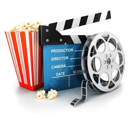 3 d シネマ クラッパー、フィルム リールとポップコーン、孤立した白い背景、3 d 画像 写真素材