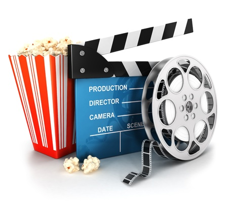 movie clapper: 3d cinema clapper, film reel and popcorn, isolated white background, 3d image