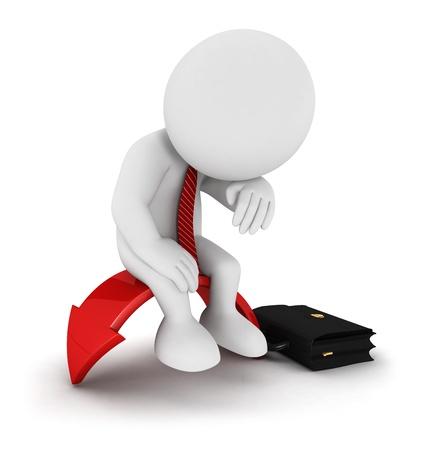 3d witte mensen zakenman afbraak gezeten op rode pijl, geà ¯ soleerde witte achtergrond, 3d beeld Stockfoto